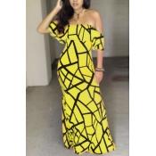 Charming Bateau Neck Short Sleeves Falbala Design Yellow Milk Fiber Sheath Ankle Length Dress