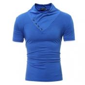 T-shirt a maniche corte in turtleneck Leisure T-shirt in cotone decorativo Royalblue