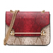 Stylish Patchwork Red PU Crossbody Bag