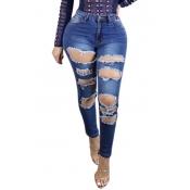 Trendy taille haute Trous cassés Pantalons Bleu Denim