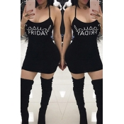 Leisure U-shaped Neck Letters Printing Coffee Black Sheath Mini Dress