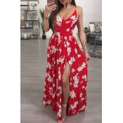 Sexy V Neck Sleeveless Printed High Slit Red Chief