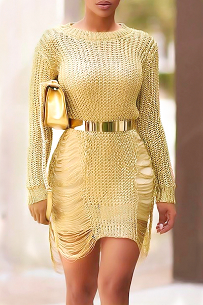 Sexy Round Neck Manga comprida Hollow-out Gold Polyester Mini Dress (Sem cinto)