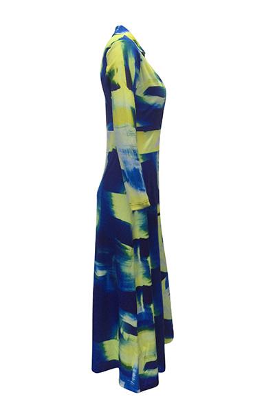 Euramerican V Шея с длинными рукавами Граффити печати Здоровая ткань длиной до пола Платье