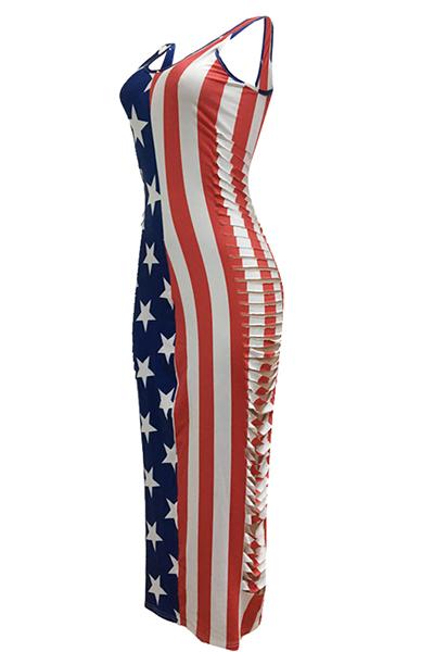 Sexy sem mangas impresso oca-out bainha de poliéster vestido de comprimento do tornozelo