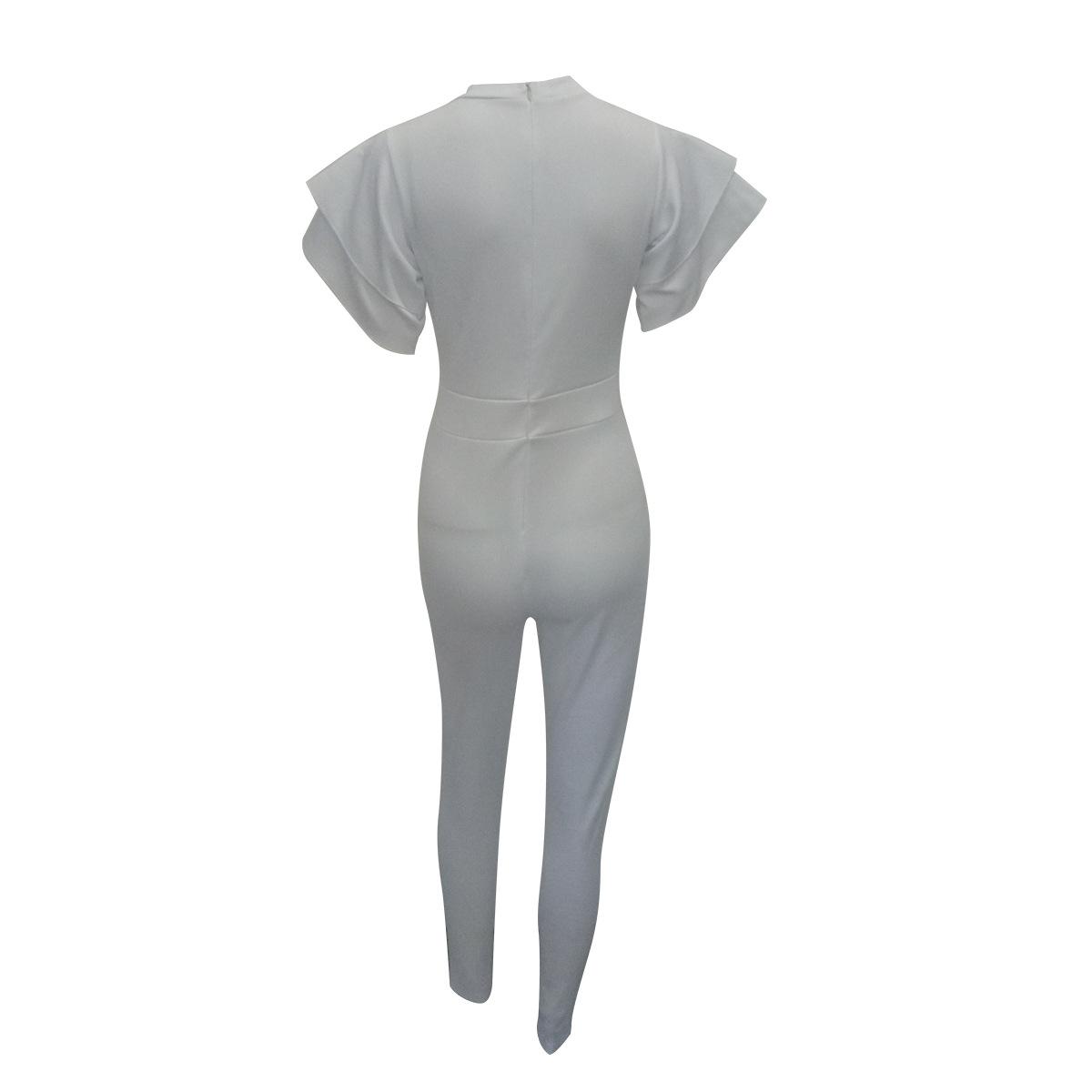 Elegante cuello redondo mangas cortas Falbala diseño blanco poliéster de una sola pieza Skinny mono (sin cinturón)