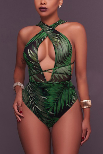 Sexy Printed Hollow-out Dark Green Polyester Two-piece Swimwear(With Shawl)