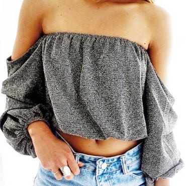 Leisure Dew Shoulder Long Sleevs Dark Grey Polyester Tops