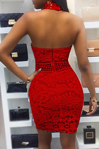 Sexy Backless Red Lace Sheath Mini Dress