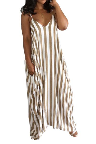 Elegante V Neck mangas Striped Blending Ankle Length Dress