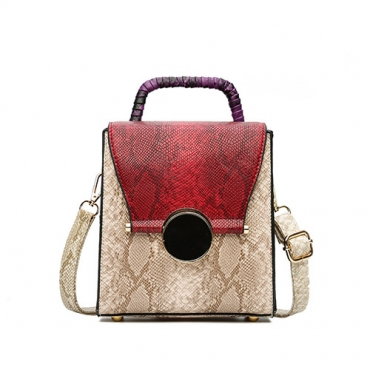 Fashion Patchwork Zipper Design Red PU Crossbody Bag