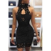 Sexy Backless Black Lace Sheath Mini Dress