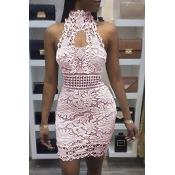 Sexy Backless Pink Lace Sheath Mini Dress
