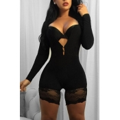 Sexy Lace Trim Patchwork Black Milk Fiber One-piece Skinny Jumpsuits(Without Bra)