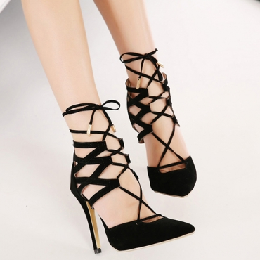 Cheap Fashion Pointed Closed Toe Lace-up Stiletto Super High Heel Black PU Ankle Wrap Pumps